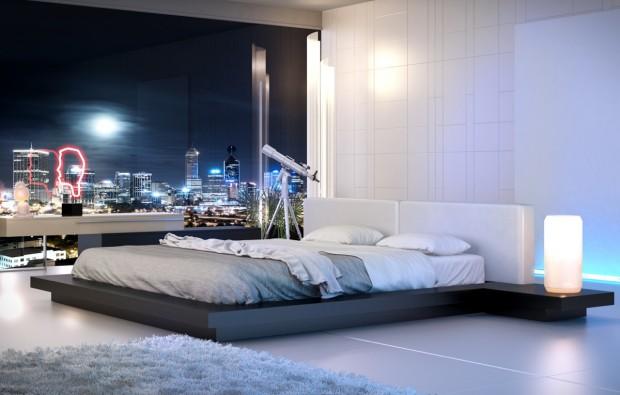 sleek white bedroom 620x395 En Şık Yatak Odası Modelleri