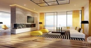 Sarı Renkli Oturma Odası 23